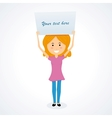 young girl holding signboard vector image vector image