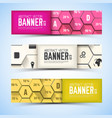 business honeycomb structure horizontal banners vector image