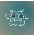 Funny muzzle cat in sunglasses closeup vector image