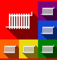 radiator sign set of icons with flat vector image
