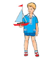 Sketch of Pretty boy with boat model in his hand vector image