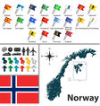Norwegian map with flags vector image