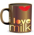 I love milk cup vector image
