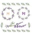 Set festive frames and elements with Lavender vector image