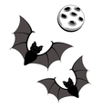 Flying bats with moon vector image