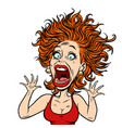funny scared woman vector image