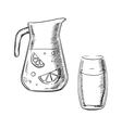 Jug and glass with fresh lemonade vector image