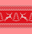 knitted christmas ornament with deers and vector image