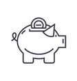 piggy line icon sign on vector image