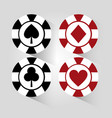 poker chip black and red gamble elements icon vector image