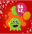 sale card with cute monster promotion balloon vector image