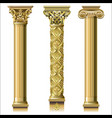 set of classic gold columns vector image