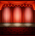spotlight on stage and red curtain eps 10 vector image