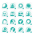 stylized simple summer and holiday icons vector image