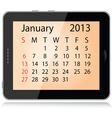 january 2013 calendar vector image vector image