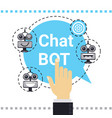 man use free chat bot robot virtual assistance vector image