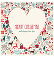 Vintage Merry Christmas love heart card vector image