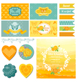 Baby Shower or Party Set - Vintage Butterfly Theme vector image vector image