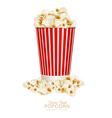 popcorn in striped bucket isolated on white backgr vector image vector image