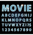 blue neon lamp letters font show cinema or vector image