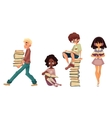 Set of sitting and walking children reading books vector image