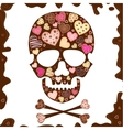 background with skull sweetmeat and chocolate vector image