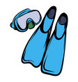 blue flippers icon cartoon vector image