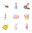 cleaning icons set cartoon style vector image