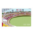 colorful drawing of cricket stadium with rows of vector image