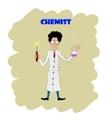 Fun cartoon chemist making analysis of liquid vector image
