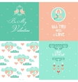 Happy Valentines Day Cards Set vector image