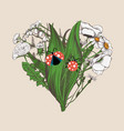heart made of hand-drawn flowers and cute ladybugs vector image