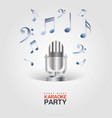 Karaoke Party poster with microphone and musical vector image
