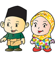 Melayu children in Patani cartoon vector image