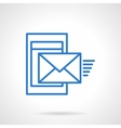 Phone mail blue simple line icon vector image