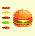 set of burger grilled beef vegetables dressed with vector image
