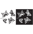 Set of silhouette butterflies collection vector image