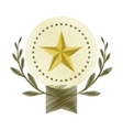drawing emblem star win leaves olive blank vector image