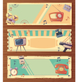 Retro Devices Horizontal Banners vector image vector image