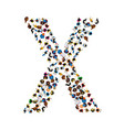 a group of people in the shape of english alphabet vector image