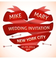 Wedding invitation in the shape of heart vector image