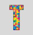 Color Puzzle Piece Jigsaw Letter - T vector image