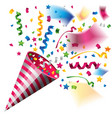 colorful party popper for celebration vector image