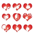 Girls silhouette in hearts icons vector image
