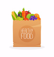 Paper bag with healthy foods Healthy organic fresh vector image