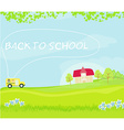 school bus heading to school with happy children vector image