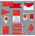 Set of stationety icons with flag elements China vector image