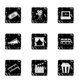 Movie icons set grunge style vector image