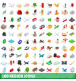 100 region icons set isometric 3d style vector image