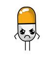 Kawaii cute angry pill pharmaceutical medicine vector image